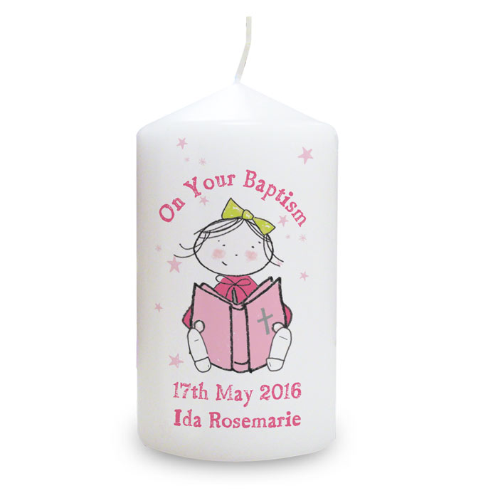 Girls Personalised Christening or Communion Candle