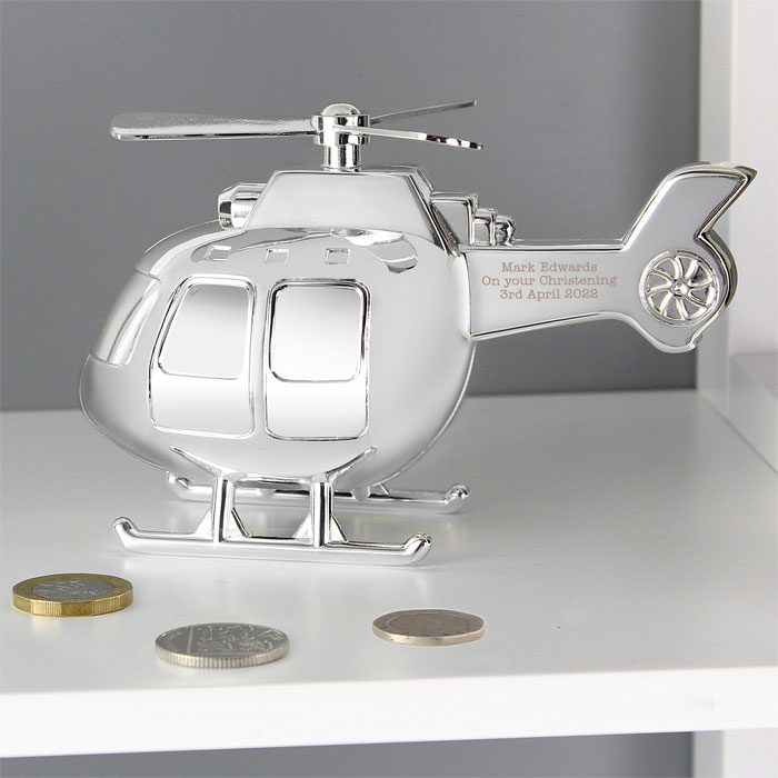 Engraved Silver Plated Helicopter Money Box