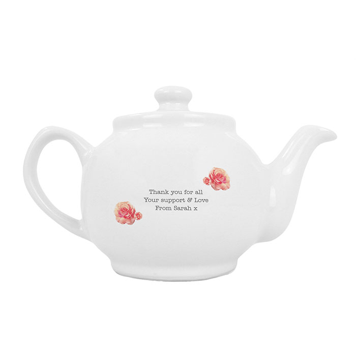 Personalised Vintage Rose Teapot Any Message