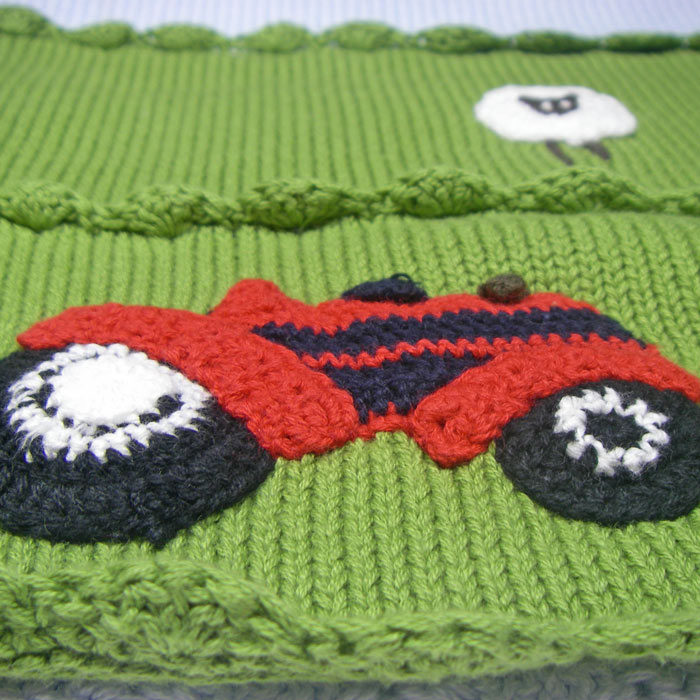 Personalised Embroidered Knitted Farmyard Cot Blanket
