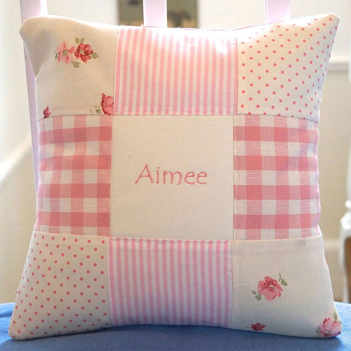 Personalised Embroidered Patchwork Nursery Name Cushion