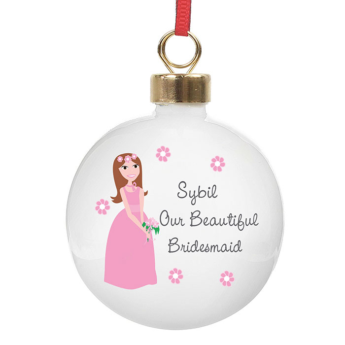 Personalised Our Beautiful Bridesmaid Bauble
