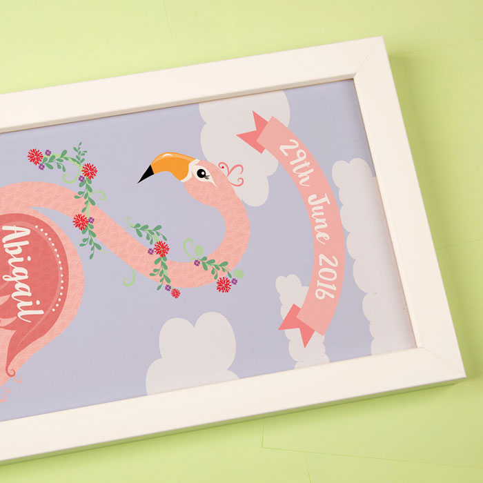 Funky Flamingo Framed Personalised Name Print