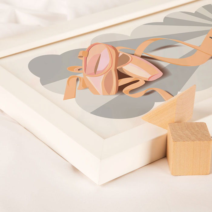 Ballet Shoes Framed Personalised Name Print