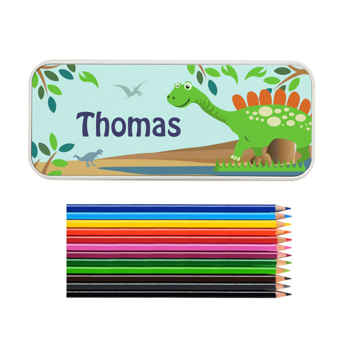 Personalised Dinosaur Colouring Pencil Tin and Pencils