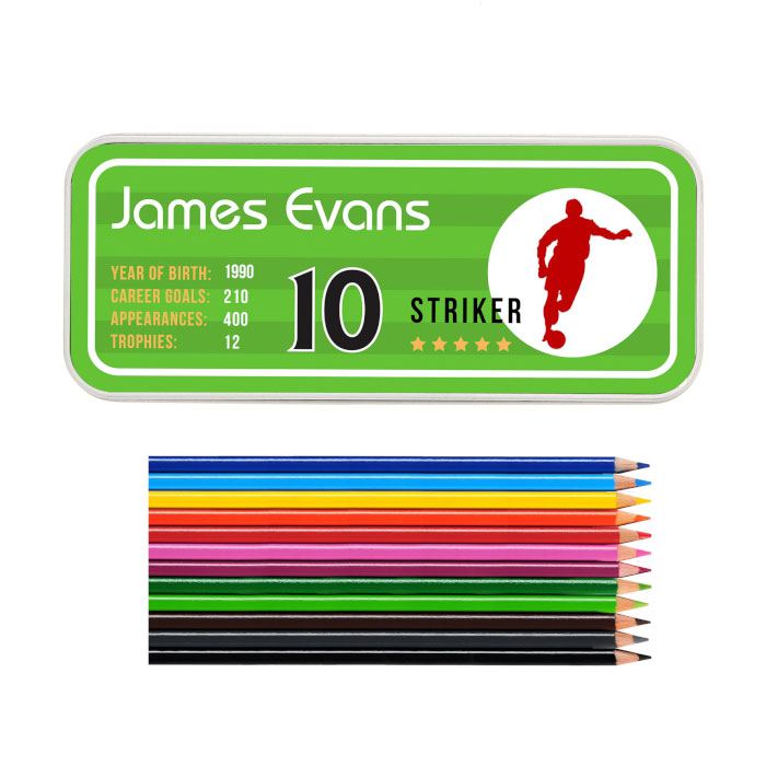 Personalised Team Player Football Pencil Tin and Pencils