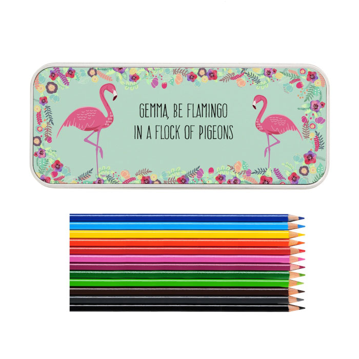 Personalised Flamingo Colour Pencil Tin and Pencils