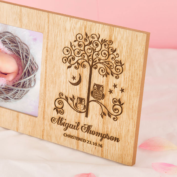 Personalised Owl Wooden Christening New Baby Frame