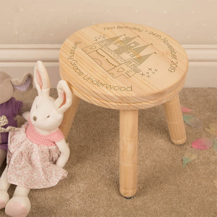 Girls First Birthday Personalised Princess Castle Stool