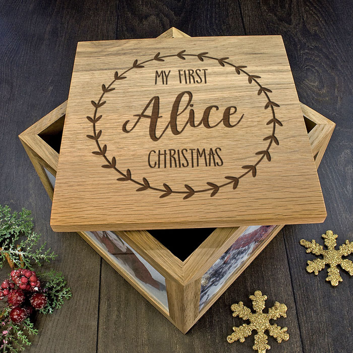 Solid Oak Personalised My First Christmas Photo Memory Box