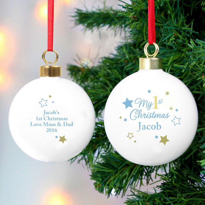 Personalised Gold and Blue Stars My 1st Christmas Bauble