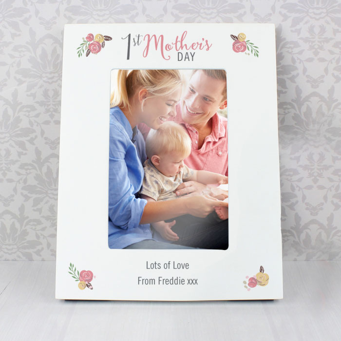 Personalised Floral 1st Mothers Day 6x4 Inch Photo Frame