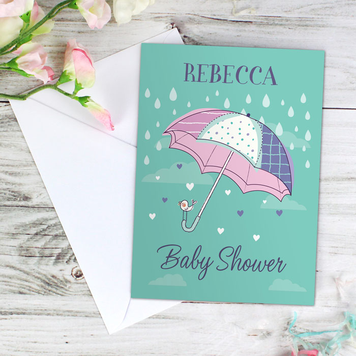 Personalised Baby Shower Umbrella Card Free Delivery