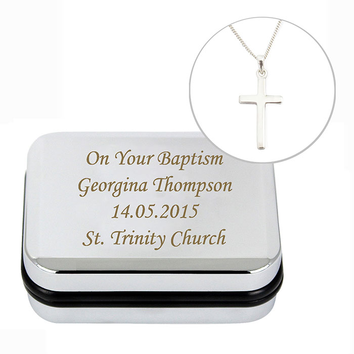 Personalised Box with Silver Cross Necklace Any Text
