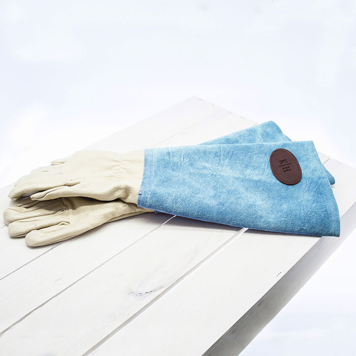 Personalised Blue Leather Gardening Gauntlets