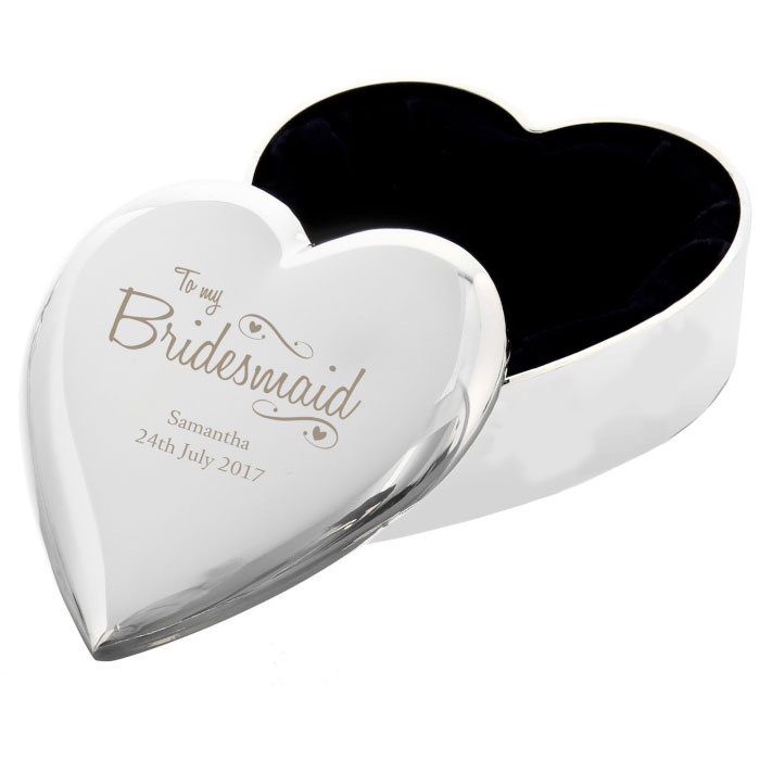 Personalised Bridesmaid Swirls and Hearts Trinket Box