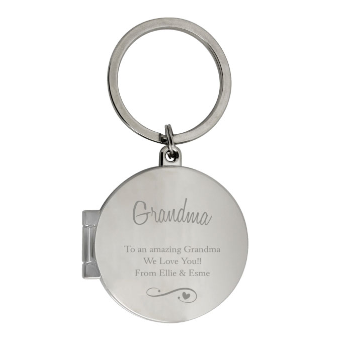 Personalised Swirls and Hearts Photo Keyring Any Message