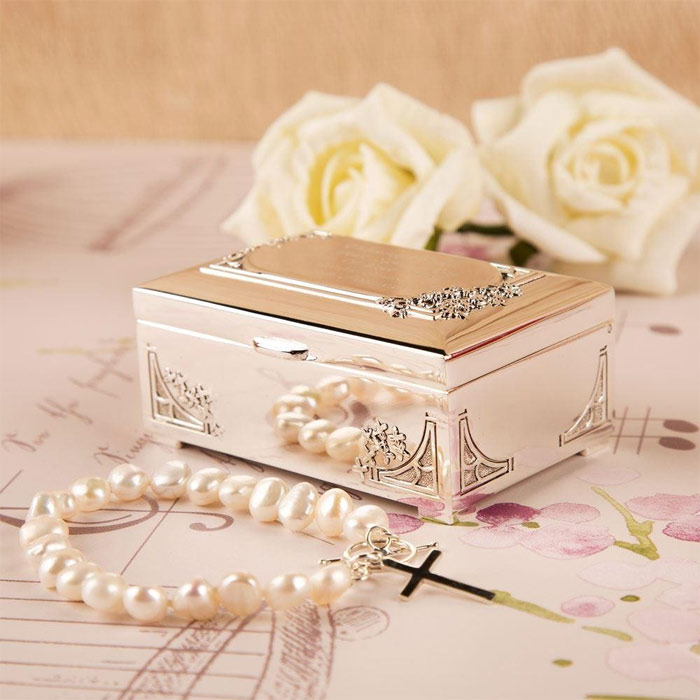 Personalised Silver Plated Confirmation Trinket Box