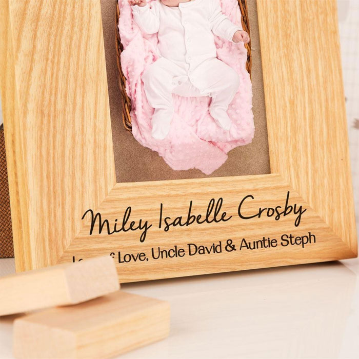Personalised Solid Oak Bunting 6x4 Portrait Baby Frame