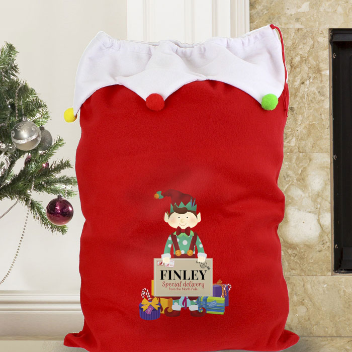 Personalised Christmas Elf Multicoloured Pompom Santa Sack