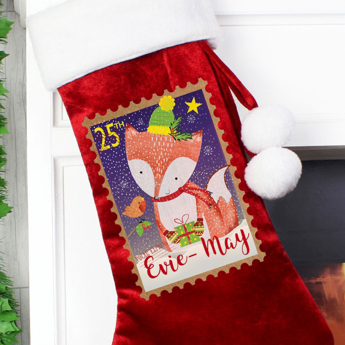 Personalised Festive Fox Luxury Christmas Stocking