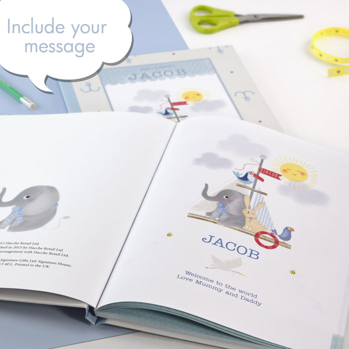 Boys Personalised Baby Record Book Hardback