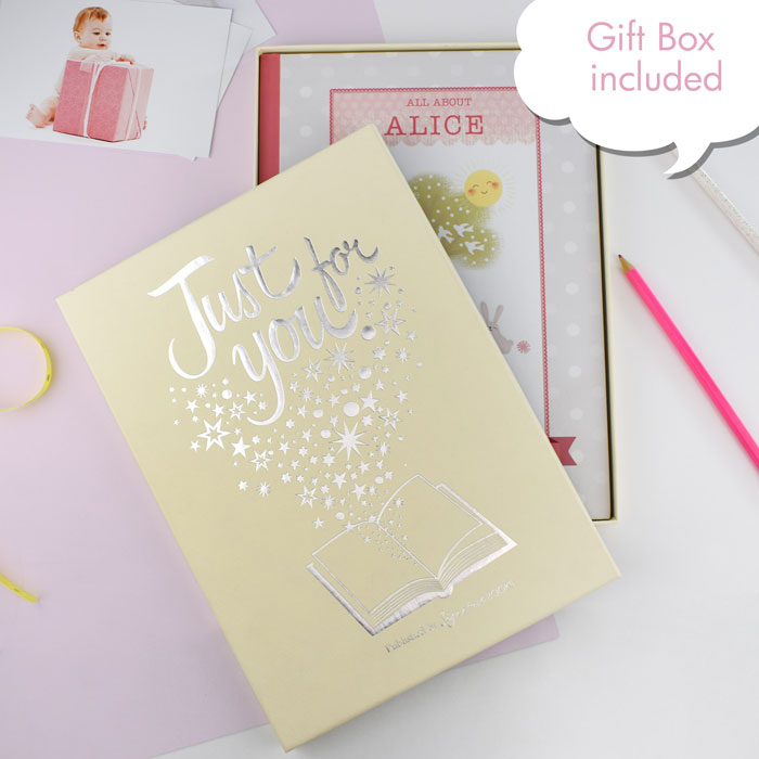 Girls Personalised Baby Record Book Hardback