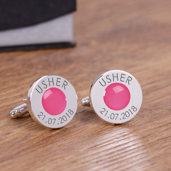 Personalised Coloured Wedding Party Cufflinks Page Boy Usher
