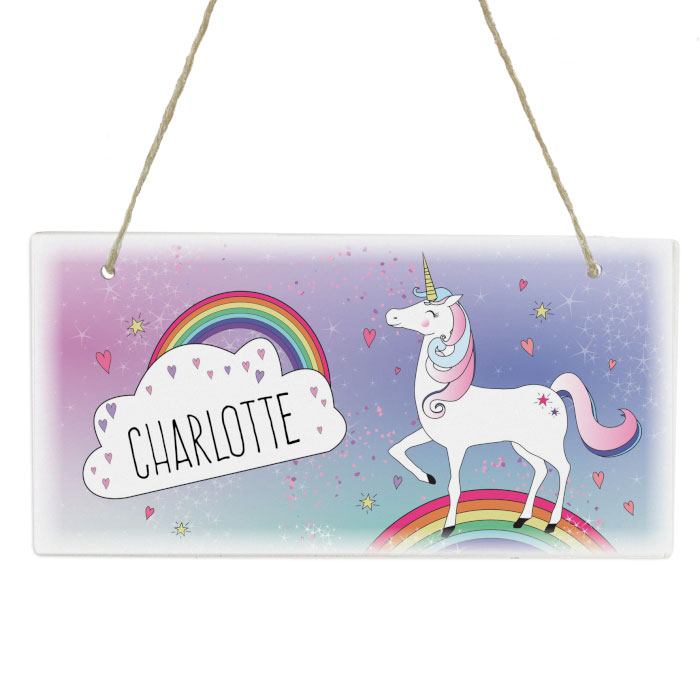 Personalised Unicorn Wooden Room Sign