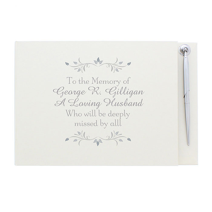 Personalised Sentiments Memorial Condolence Book and Pen