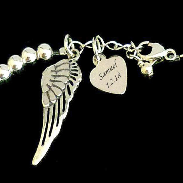 Silver Memorial Bracelet With Angel Wing and Engraved Heart