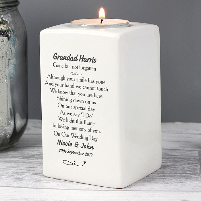 Personalised In Loving Memory Dove Ceramic Tealight Holder