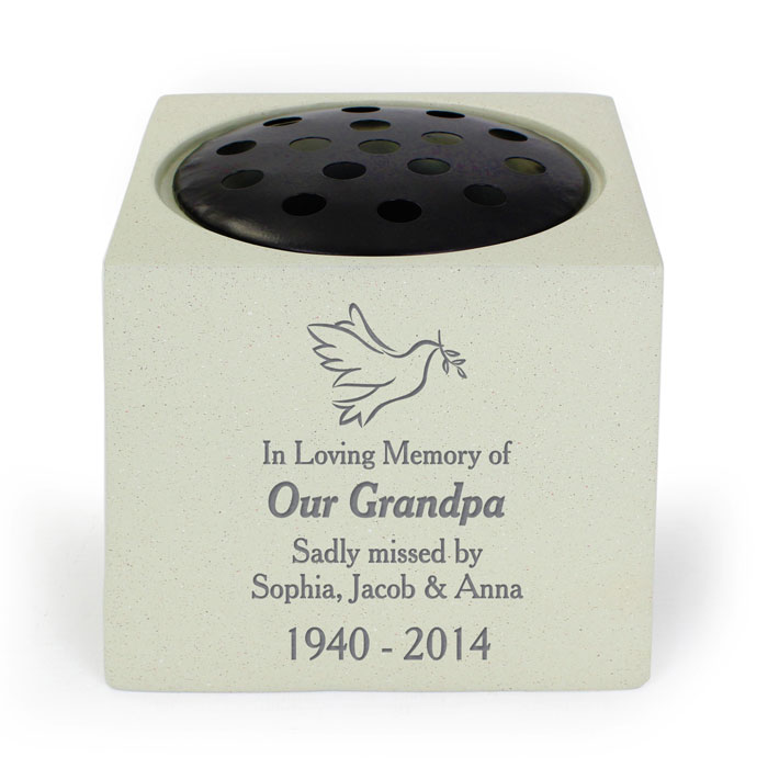 Personalised Dove Memorial Graveside Vase