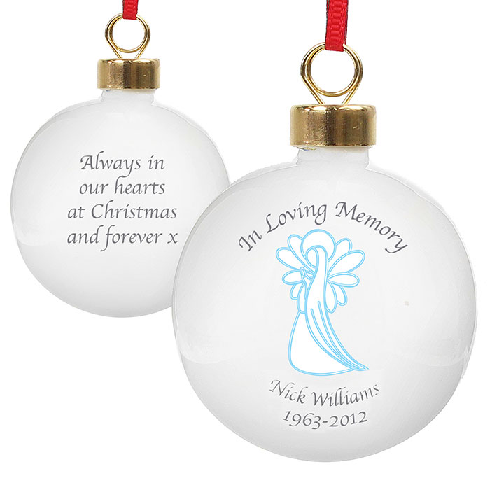 Personalised In Loving Memory Blue Angel Memorial Bauble