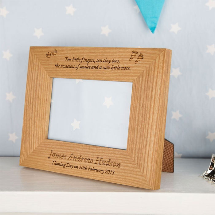 Laser Engraved Solid Oak Personalised Naming Day Frame