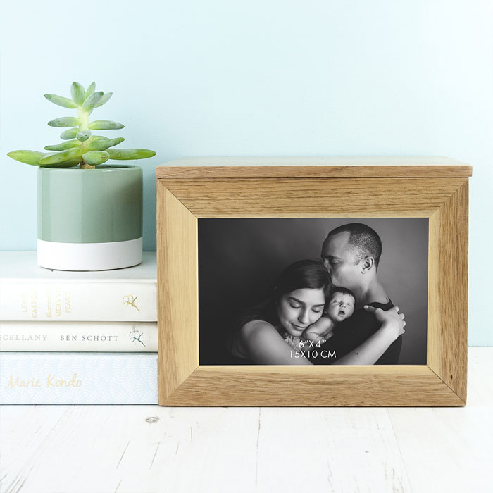 Personalised Christening Cross or Dove Oak Photo Cube