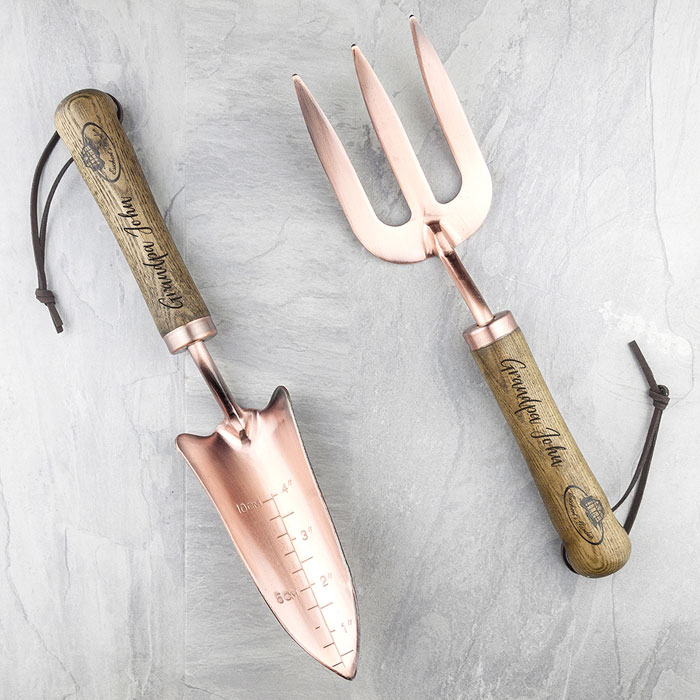 Personalised Luxury Copper Trowel and Fork Set
