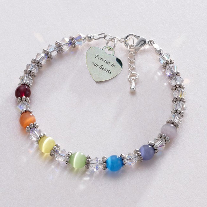 Rainbow Bead Bereavement Bracelet With Engraved Heart