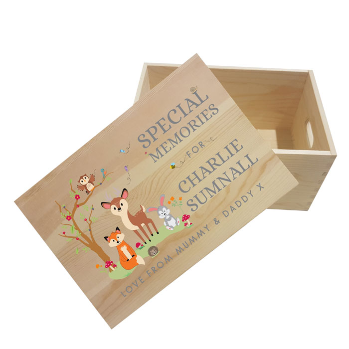 Personalised Woodland Wooden Memory Box