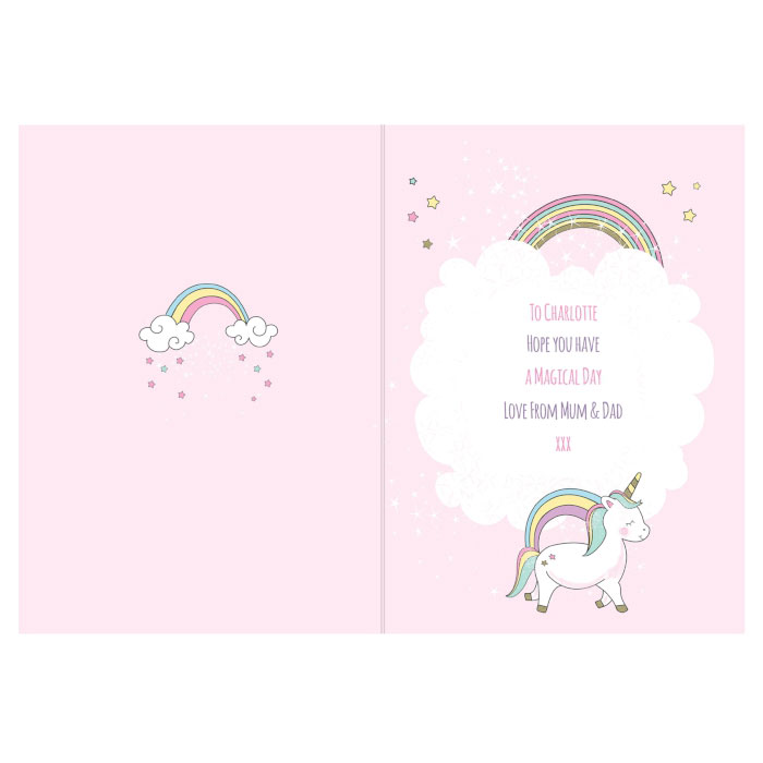 Personalised Baby Unicorn Birthday Age Card