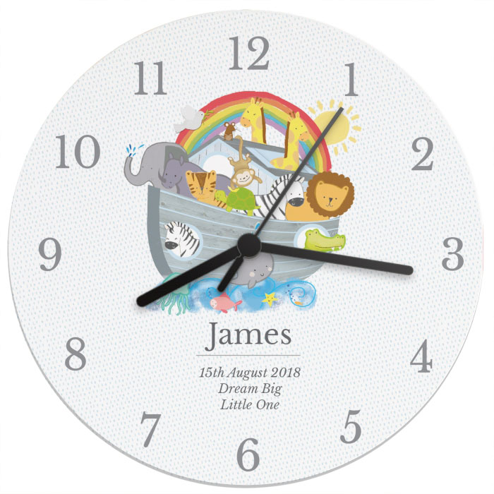 Personalised Noahs Ark Wooden Clock