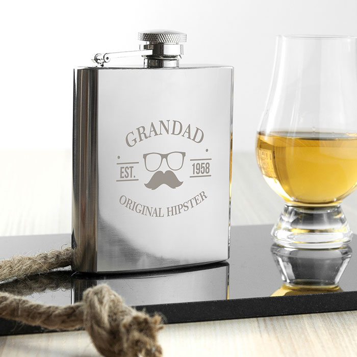 Personalised Original Hipster Silver Hip Flask