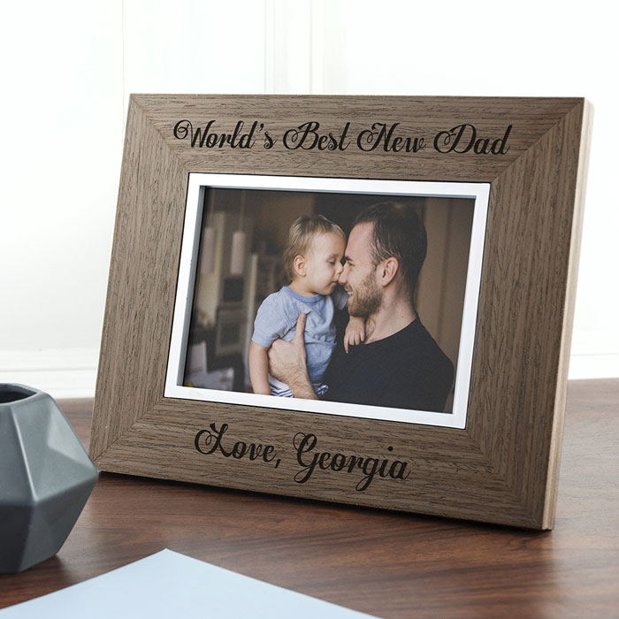 Personalised Worlds Best New Dad Wooden Frame