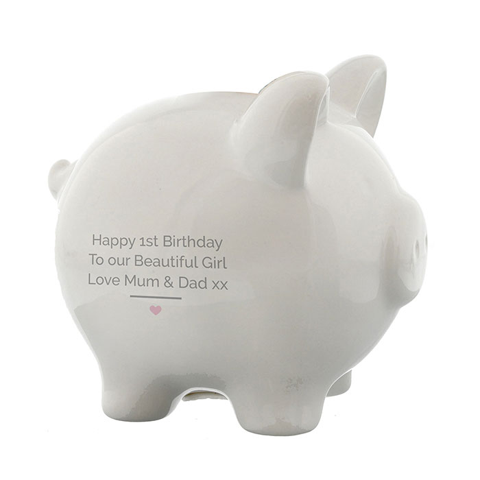 Personalised Pink Girls My First Piggy Bank