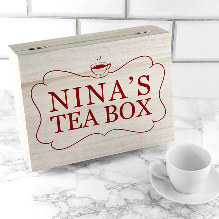 Personalised Wooden Tea Box With Selection Of Teas