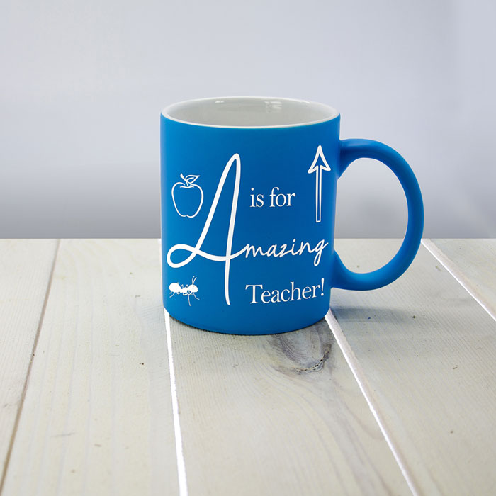 A is for Amazing Teacher Matte Coloured Personalised Mug