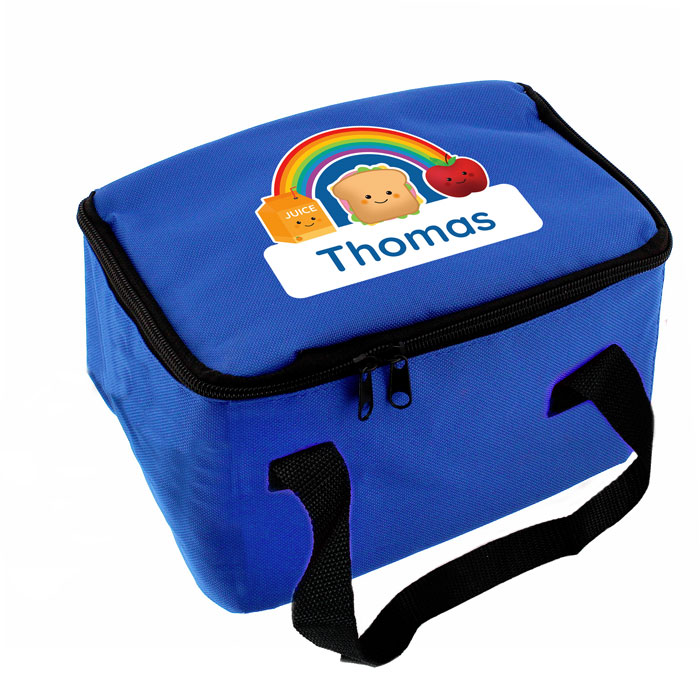 Boys Personalised Healthy Eating Blue Lunch Bag