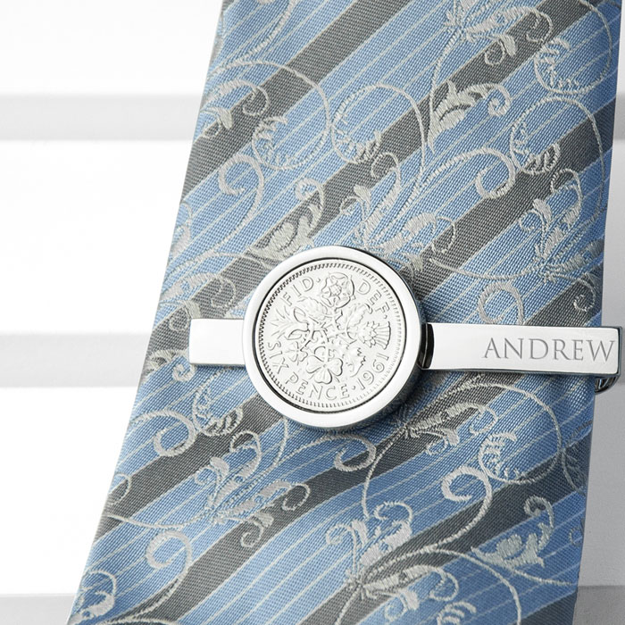 Personalised Silver Plated Lucky Sixpence Tie Clip