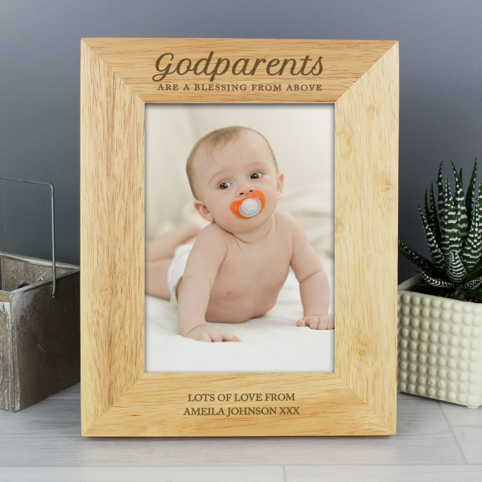Personalised Godparents 5x7 Inch Wooden Photo Frame