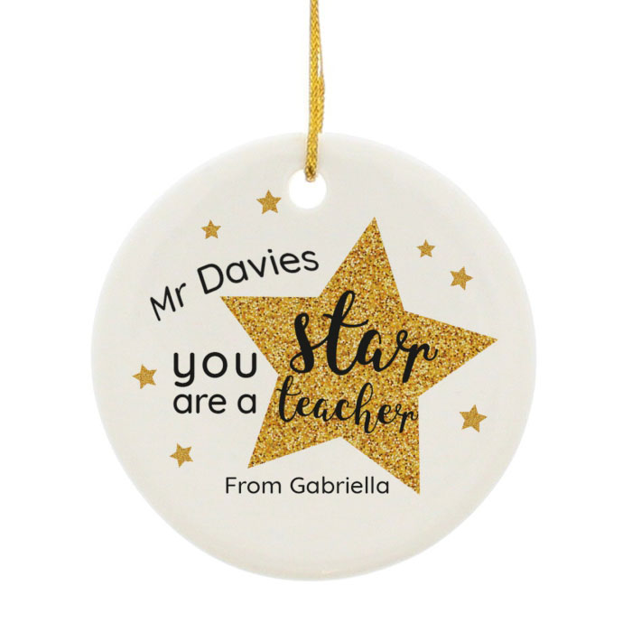 Pesonalised Star Teacher Round Ceramic Decoration